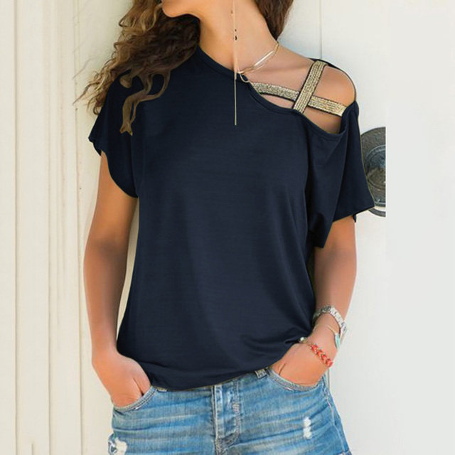 S-5XL נשים להטות צוואר סדיר כריס צלב חולצה טלאים מוצק חולצות Blusa Femme אחד כתף קיץ חולצה חלול בתוספת גודל