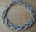 Perfect Women's Pearl Necklace, Gray Color 100% Real Freshwater Pearl Necklace,5-8mm 18 inches Natural Pearl Jewelry.