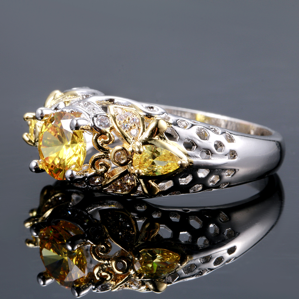 HTB1BuYwXOnrK1Rjy1Xcq6yeDVXa9 Yellow Citrine Animal Bee Finger Rings For Women Men With Zircon 925 Silver Jewelry Engagement Party Anniversary Gifts Size 6-10