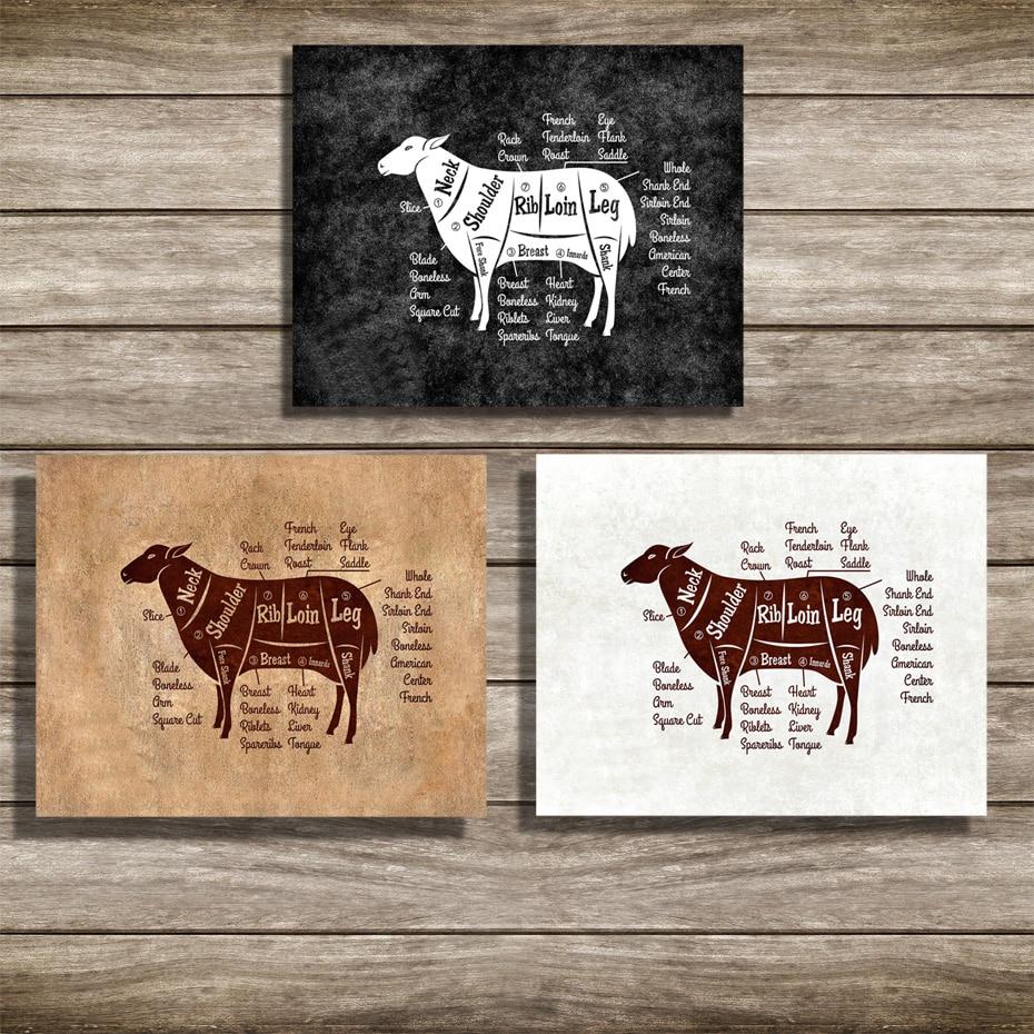 various sizes black and white kitchen decor Butchers Kitchen wall art print