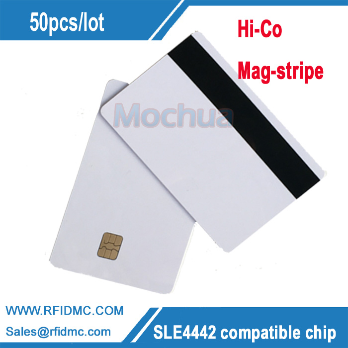 SLE4442 Card with 2750 oe Mag-stripe ISO7816 PVC Smart IC contact Card-50pcs evolis avansia duplex expert mag iso