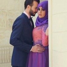 Purple 2019 Hot Sale Turkish Women Clothing Islamic Muslim Wedding Dresses Long Sleeves Dubai Bridal Gowns