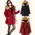 New2015Winter women fur collar hooded padded trench coat plus size warm thick casual cultivating long wadded jacket outwearXXXXL