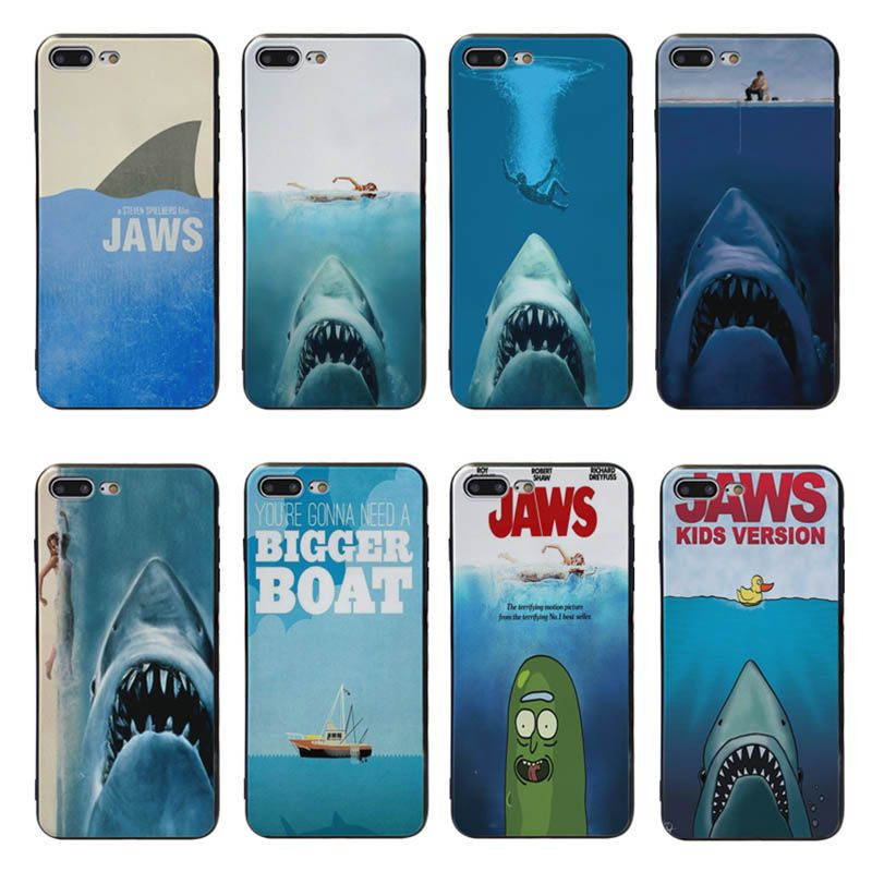 Yinuoda jaws silicone Cover cases For iPhone X XS XR XSMax 5 5S SE 8 8plus 7 7plus 6s 6sPlus Black coque case