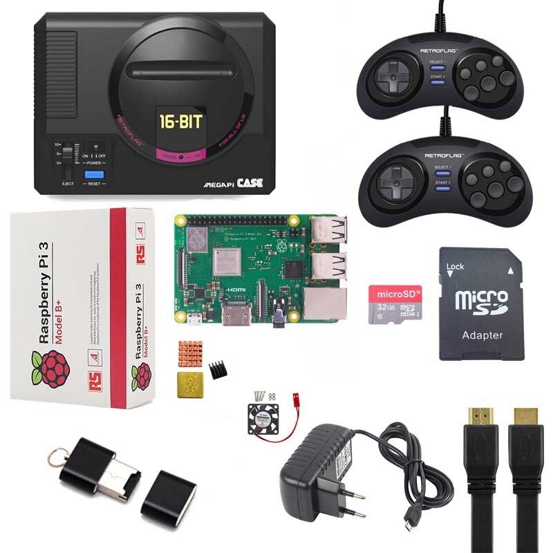Retroflag MEGAPi Case Raspberry pi 3B Plus Game Controller Functional Button 32GB SD card heat sink