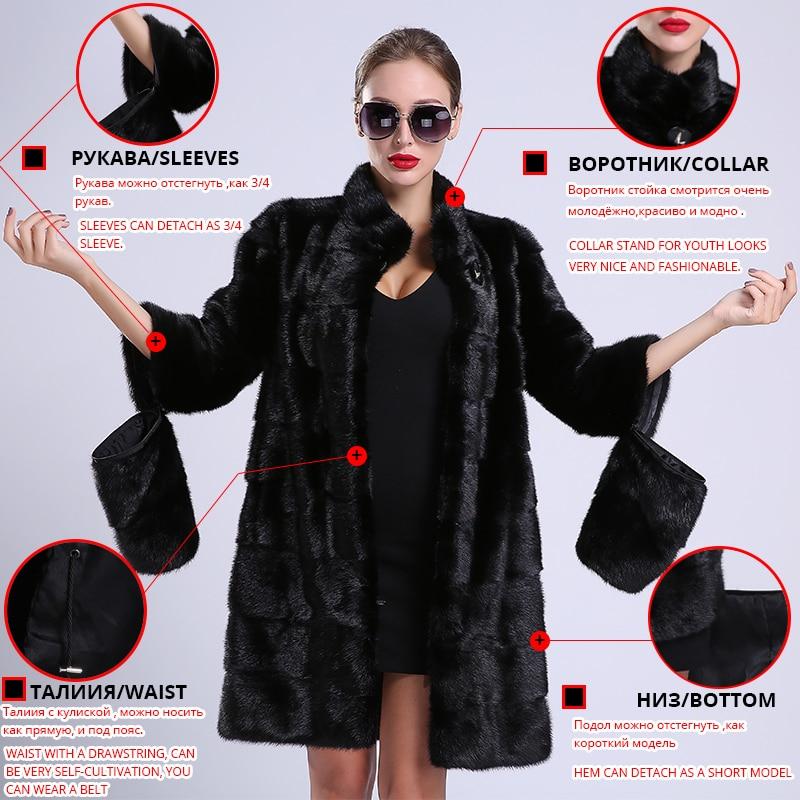 毛皮のコートの女性の自然な黒コート 送料無料 mlnk 2018