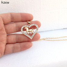 hzew fashions Crystal heart-shaped horse brand pendant necklaces women's fashion jewelry Christmas gift necklace
