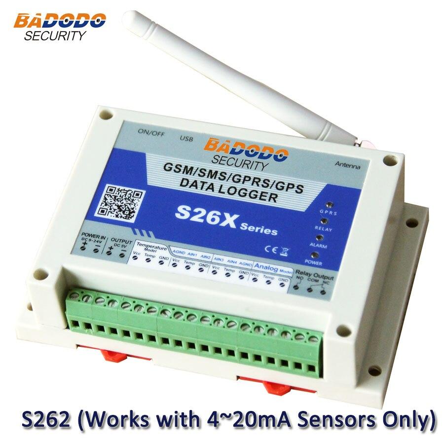 Badodo GSM GPRS Wireless Data Logger 4 Channels Data Logger For 4~20mA Analog Sensor S262 Humidity Logger AlarmWeather Station