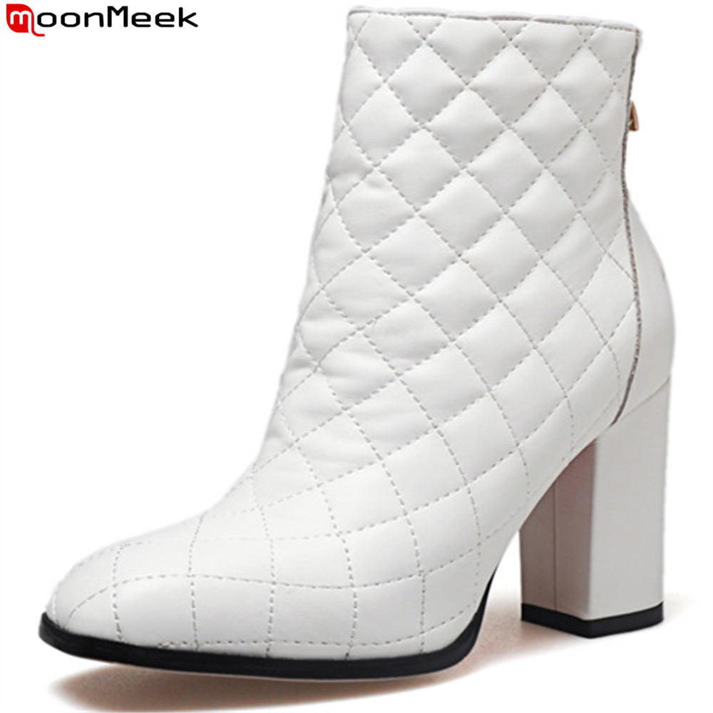 MoonMeek black white fashion new arrive women boots square toe ladies genuine leather boots zipper cow leather ankle boots moonmeek fashion new arrive women boots pointed toe genuine leather boots black red zipper cow leather ankle boots autumn winter
