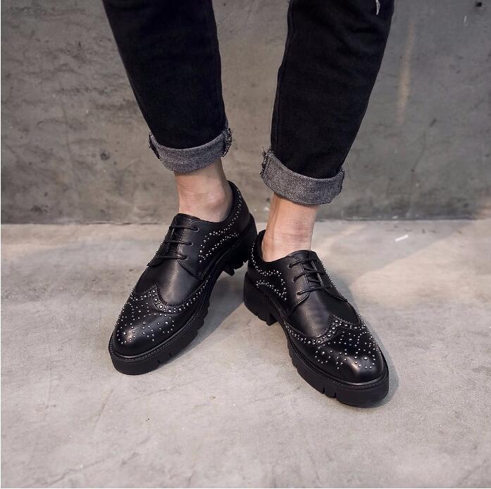 Rivets Chaussures Noir Des Robe Casual De Costume Hommes Bureau Hauteur Borgue forme Smart Mâle Plate Sculpté Dentelle Oxfords Croissante up 7HwwqY
