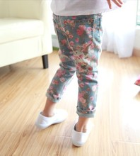 New girls flower pattern cotton jeans casual fashion style special free shipping