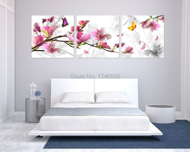 Big size 3pcs pink magnolia flower flower Wall Art picture for ...