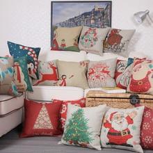 Cartoon Deer Santa Claus Printed Cotton Christmas Cotton Linen Blend Throw Cotton Linen Cushion Cover Housse