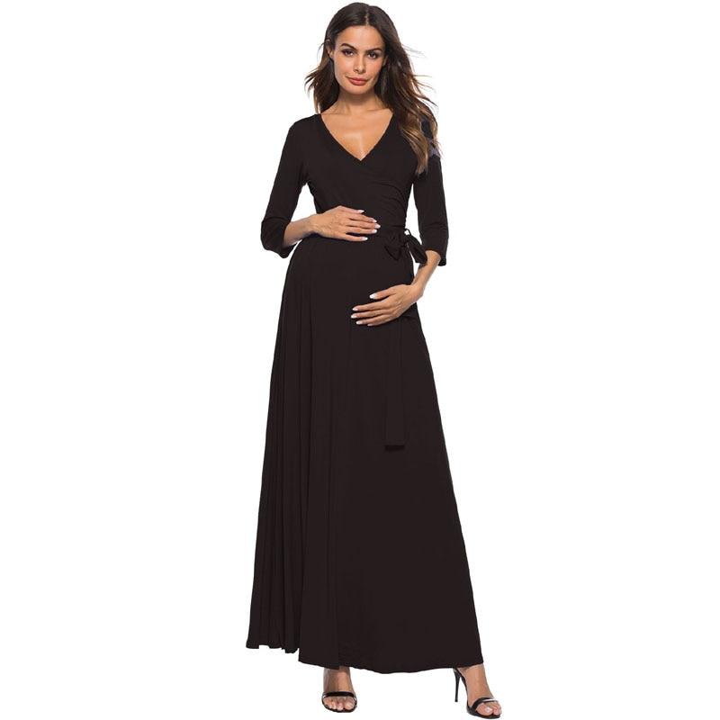 Элегантное платье с v-образным вырезом, вечернее платье для беременных с длинными Беременность платья для беременных женская одежда Gravidas ...
