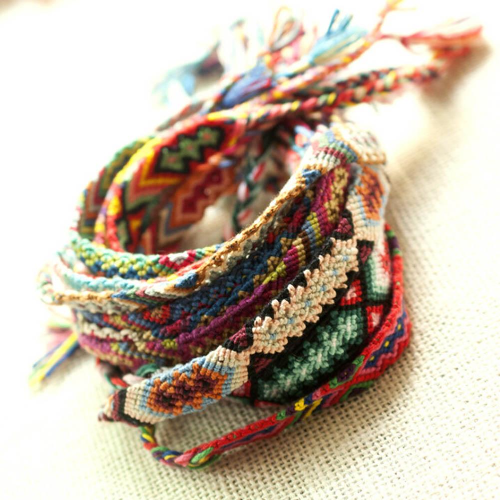 Colorful Woven Braided Bracelet Folk Style Hand Woven Bracelet Color Random Freeshipping