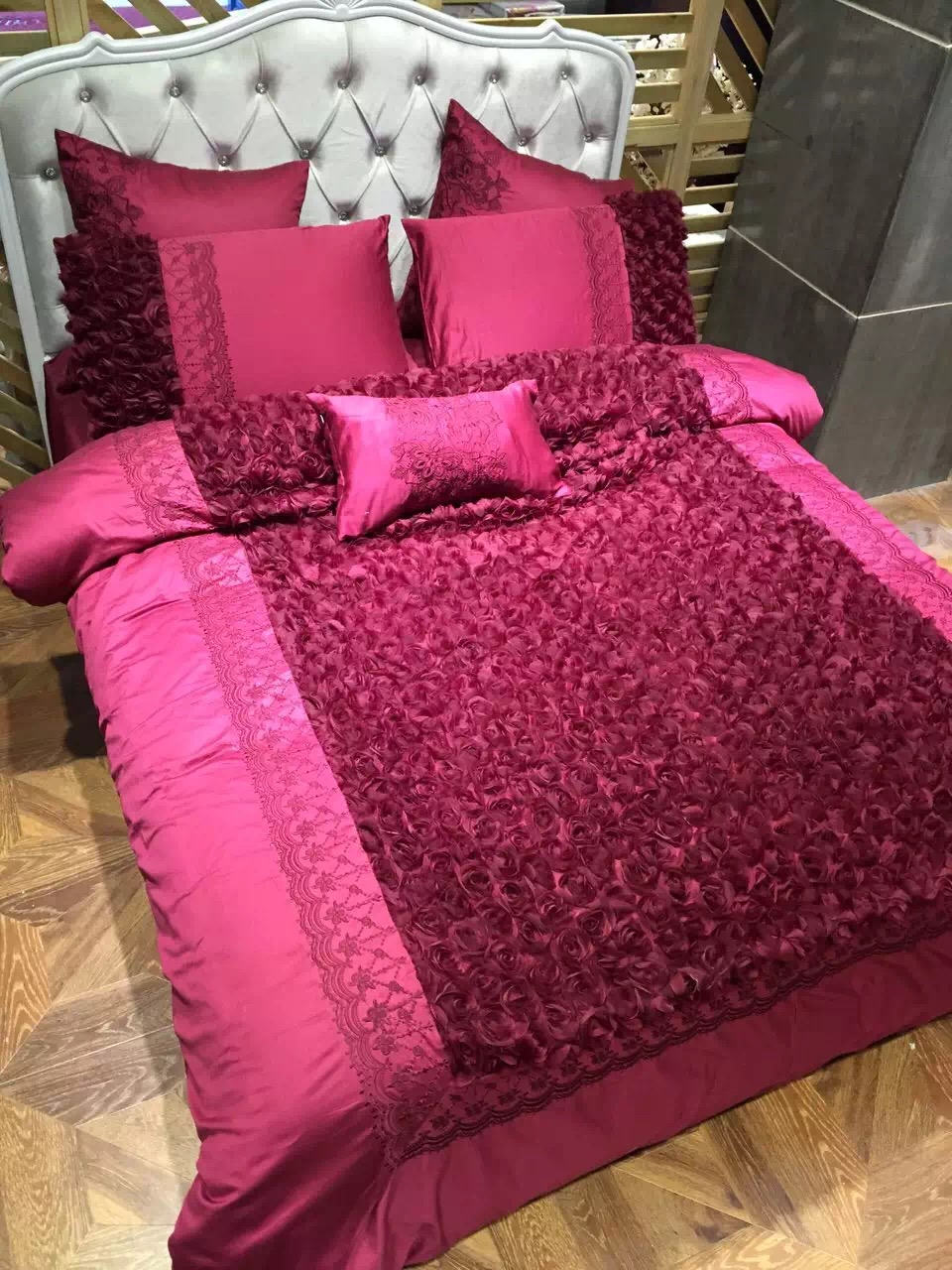 Wedding bed sheet set - 4pcs 100 Cotton Chinese Traditional Wedding Kit Wine Red Bedding Set King Size Roses Sewed