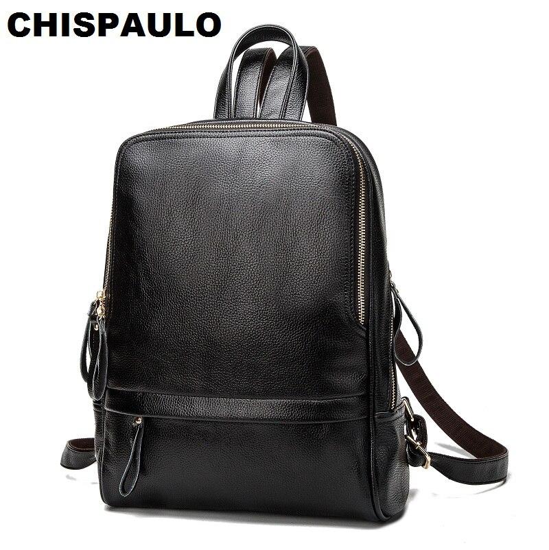 все цены на CHISPAULO Casual Women Genuine Leather Kanken Backpack For Teenage Girls Large Capacity Laptop Shoulder Travel Bags Mochila N013 онлайн