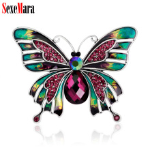 ФОТО sexemara enamel retro butterfly brooches rhinestone women alloy pins wedding party banquet brooch girl scarf hat coat accessory