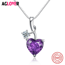 цены Love 925 Sterling Silver Heart Amethyst Purple Zircon Pendants Necklaces For Women Fine Jewelry Birthstone Necklace