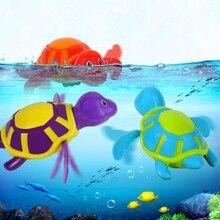 Baby Bath Toy Swim Turtle Chain Clockwork Bathing Toy Cute Bath Time Animals Great Fun Plastic Baby Toy