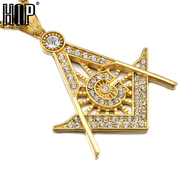 Hip hop gold color titanium stainless steel iced out bling masonic hip hop gold color titanium stainless steel iced out bling masonic free mason freemasonry pendants necklaces aloadofball Gallery