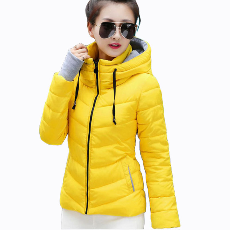 Women Hooded Jackets Warm Thick 2018 Autumn Winter Ladies Slim Parka Padded Fashion Stand Collar Female Cotton puffer Coats Plus