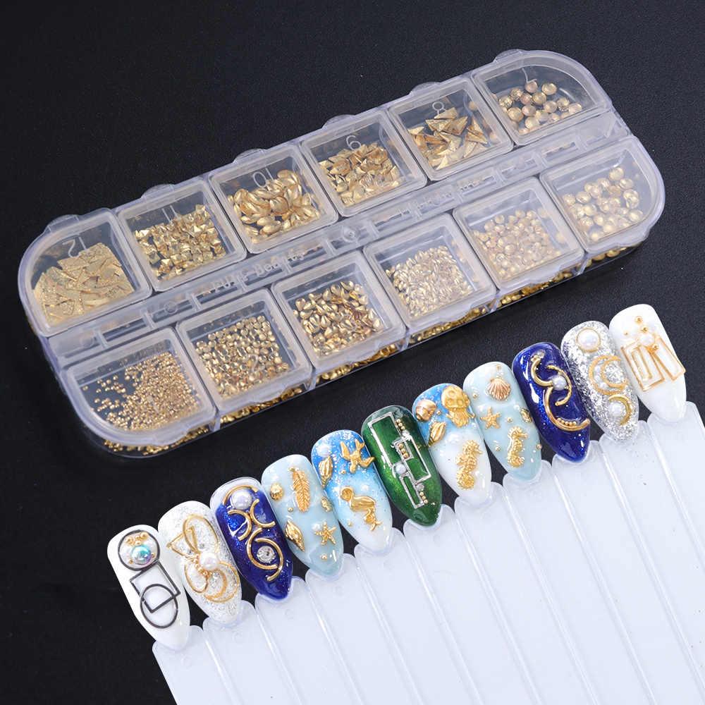1 boîtier or argent creux 3D Nail Art décorations mélanger cadre en métal ongles Rivets brillant breloque Strass manucure accessoires goujons JI772