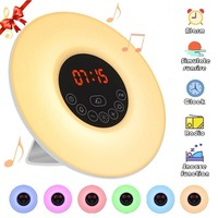 Sunrise Alarm Clock Wake Up Colorful Light Simulation Digital Alarm Clock Nature Sounds FM Radio Snooze Function Touch Control