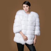 Real fur fox coat women's girl  white short  o-neck three quarter slim fashion full pelt super smart 2016 new winter