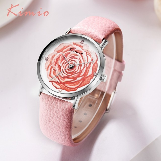 KIMIO 3D Rose Flower Rhinestone Ladies Watch Women Dress Quartz Leather Elegant