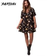 f5b2570012 Women V-Neck Short Sleeve Dress Casual Summer Street Mini Dresses Star Moon  Print Loose Beach Dresses