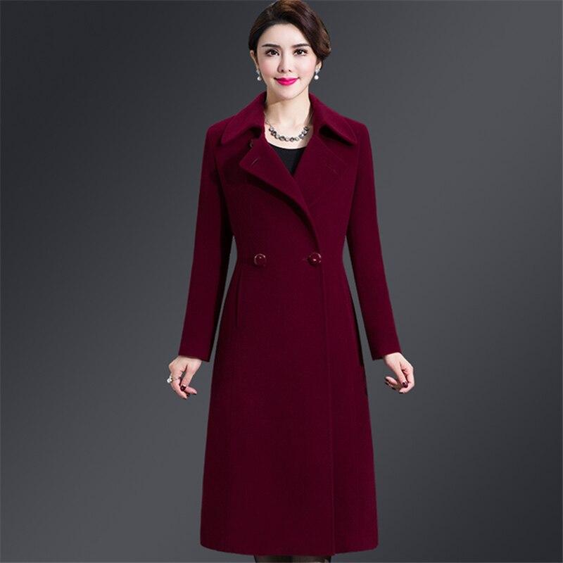 Plus ขนาด 4XL Casual สตรีเสื้อ 2019 ฤดูใบไม้ร่วงฤดูหนาวเดียวกว้างเอวคอเอวหญิงผสมผ้าขนสัตว์-ใน ขนสัตว์และขนสัตว์ผสม จาก เสื้อผ้าสตรี บน   3