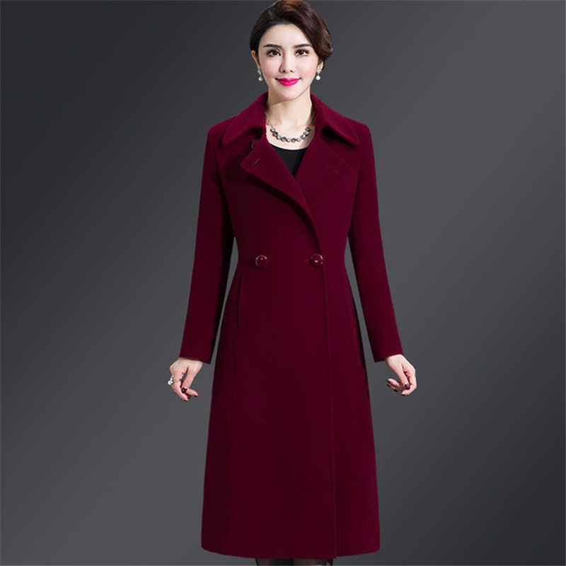 Plus Size 4XL Casual Women Woolen Coat 2019 Autumn Winter Single Breasted Wide-waisted Turn-down Collar Waist Female Wool Blends