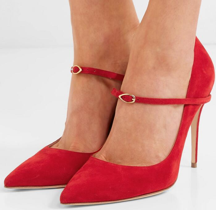 2019 Spring Newest Pointed Toe High Heel Shoe Red Black Nude Leather Ankle Strap Woman Pumps Sexy Stiletto Heels 2019 Spring Newest Pointed Toe High Heel Shoe Red Black Nude Leather Ankle Strap Woman Pumps Sexy Stiletto Heels