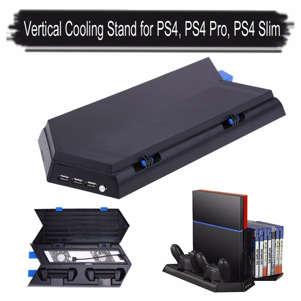 Multifunction 3 in 1 Vertical Stand Cooling Fan Game Holder Dual Charging Station with USB HUB for PS4 Dual Shock 2 Controllers