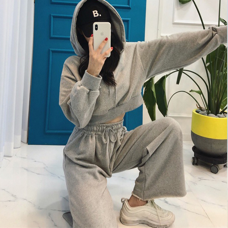 Autumn Black Gray Solid Tracksuit For Women Crop Tops+bell-bottomed Pants Two Piece Set Hoodies Casual Sporting Suits Ladies