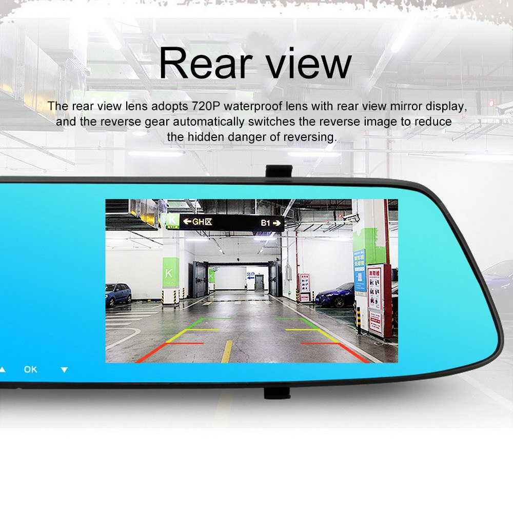 Image 2 - 5.0 Inch 1080P HD Car DVR Mirror with Rear View Camera Night Vision Auto Driving Video Recorder Car Dash Camera-in DVR/Dash Camera from Automobiles & Motorcycles