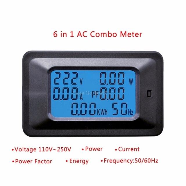 20A/100A AC 110-250 V Misuratore di Potenza A CRISTALLI LIQUIDI di trasporto Digitale di Alimentazione del Pannello Watt Contatore di Energia del Monitor di Tensione di Corrente KWh Voltmetro Amperometro Tester