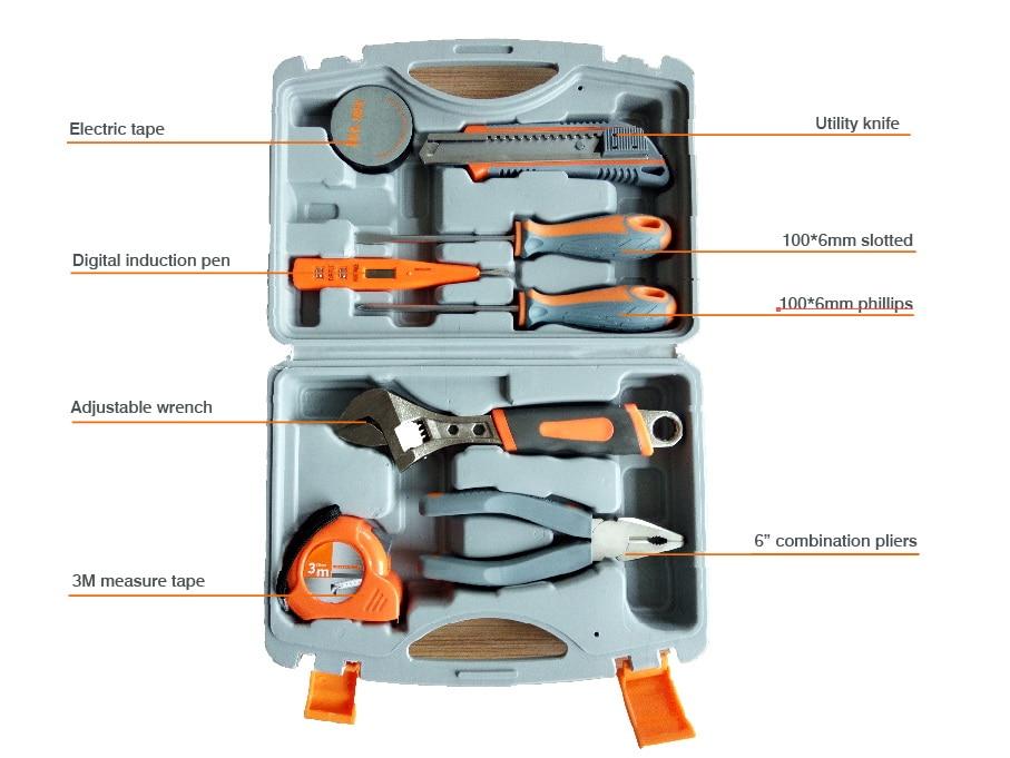 8pcs/kit home use hand tools set,pvc tape,knife,screwdriver,induction pen, hand wrench, pliers, measurement tape цена и фото