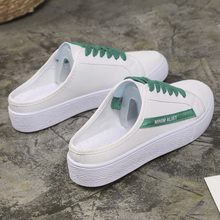 Mlcriyg New Spring 2019 Woman Half Slipper Canvas Shoes Flat Sneakers Women Comfortable Loafer Driving Low Lace Up Casual