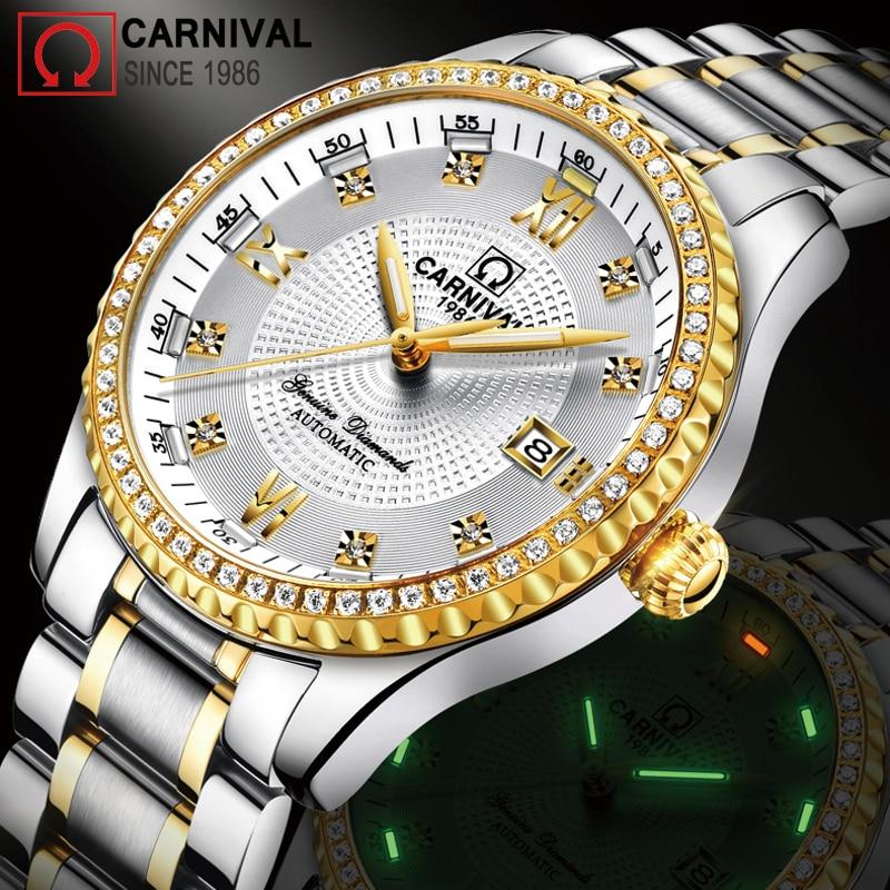 Gold Diamond T25 Tritium Watch Men Carnival Automatic Mechanical Watches Luxury Waterproof Wristwatch Mens Clock kol