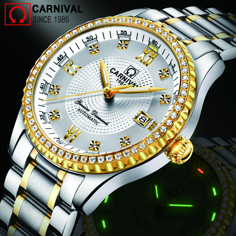 Gold Diamond T25 Tritium Watch Men Carnival Automatic Mechanical Watches Luxury Waterproof Wristwatch Mens Clock kol saati 2018Gold Diamond T25 Tritium Watch Men Carnival Automatic Mechanical Watches Luxury Waterproof Wristwatch Mens Clock kol saati 2018