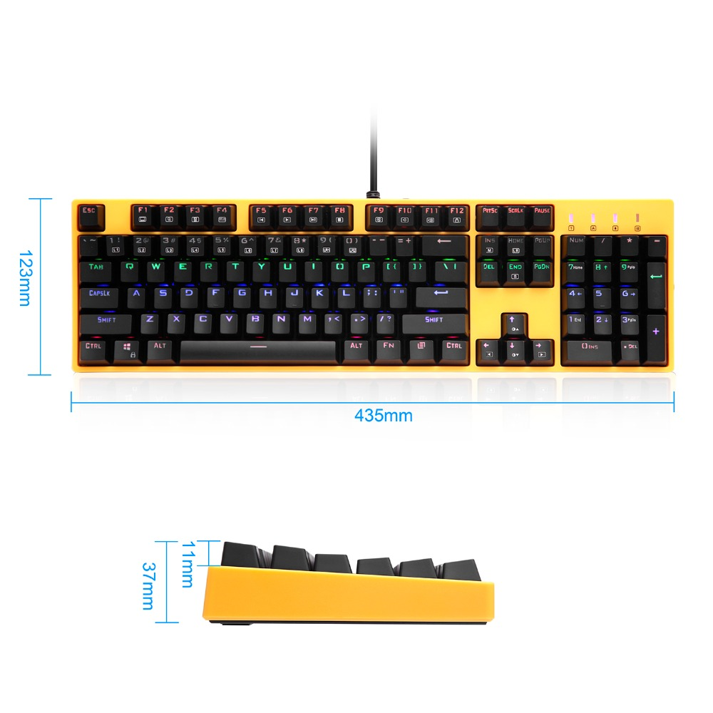 LED Backlit Gaming Mechanical Keyboard Contrast Color Tactile Clicky Blue  Switch Wired for Gamer X8100