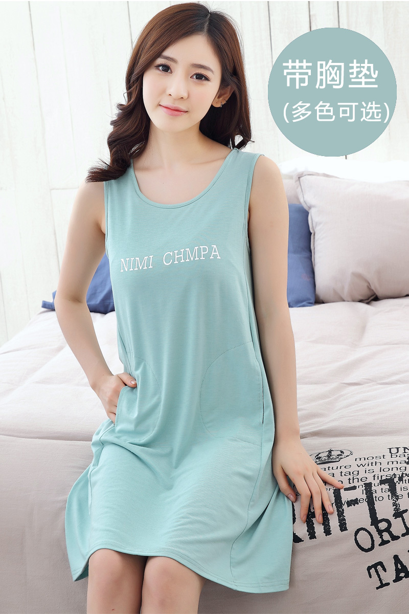 a83c3e1ec6 Hot Summer Cotton Sleeveless vest Sleepwear Women Letter Print Nightgowns  Ladies Cute Dress Nightwear Homewear With Chest pad -in Nightgowns    Sleepshirts ...