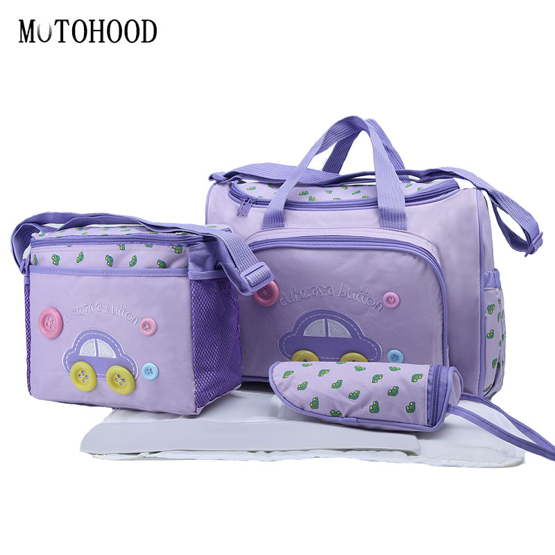 MOTOHOOD 4pcs Cute Car Mummy Maternity Diaper Bag Sets Large Capacity Baby Changing Nappy Bag Nursing Bag For Baby Care