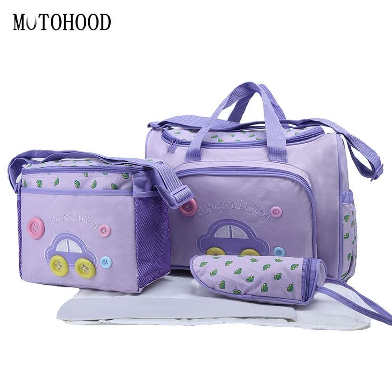 MOTOHOOD 4pcs Cute Car Mummy Maternity Diaper Bag Sets Large Capacity Baby Changing Nappy Bag Nursing Bag For Baby Care