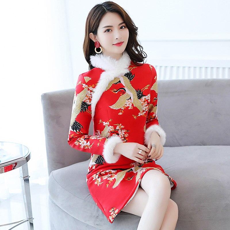 Tenue Pour De Chaud Moderne Hiver Ajouter Coton Qipao Rouge Mini Robe Femmes Fête Longues Fourrure Automne À Dame Fille Robes Manches Lapin Soirée A8wOE1
