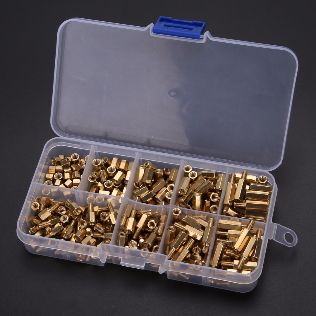 300pcs Yellow M3 Thread Brass Standoffs Spacers Screw Nut And Male 120pcs Copper Silver Pillars Standoff Circuit Board Pcb Female Hex Stand