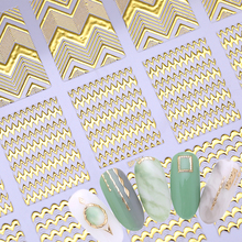 Gold 3D Round Nail Sticker Strip Geometric Lines Heart Self Adhesive Nail Art Transfer Stickers  Decoration