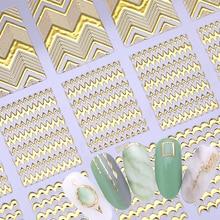 Vàng 3D Tròn Miếng Dán Móng Tay Dải Đường Hình Học Trái Tim Tự Dính Móng Tay Nghệ Thuật Truyền Hình Dán Trang Trí